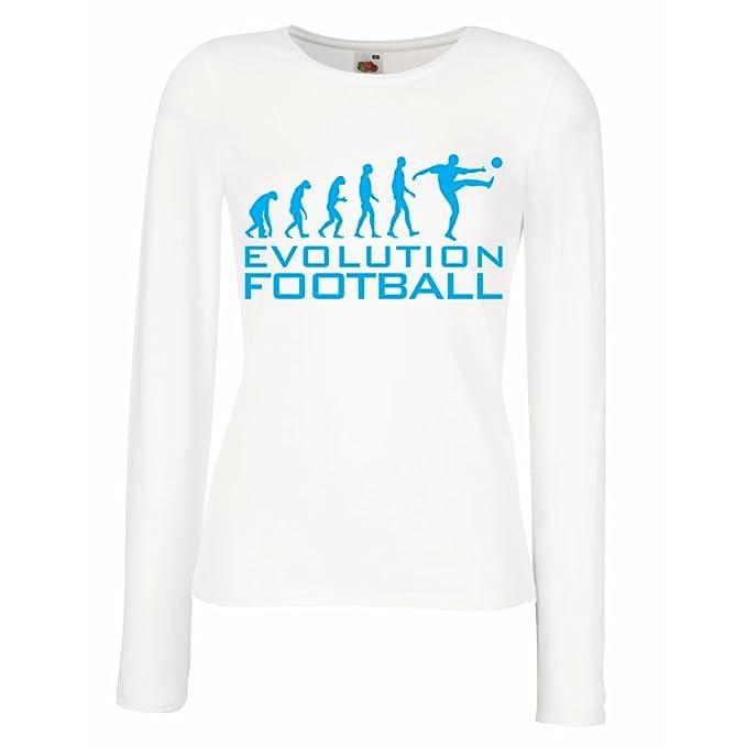 lepni.me Camisetas de Manga Larga para Mujer La Evolución del Fútbol - Copa del