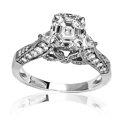2.3 Ctw 14K White Gold GIA Certified Asscher Cut Trillian And Round Diamond Engagment Ring, 1.5 Ct D-E VS1-VS2 Center