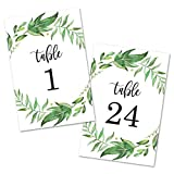 Leafy Greenery Wreath Table Number Cards 1-24 (Black) - Double Sided 4x6