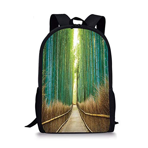 School Bags Bamboo Forest in Japan,Panoramic View of Historic Landscape Park Decorative, for Boys&Girls Mens Sport Daypack