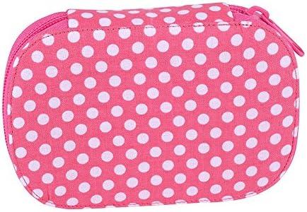 Estuche Funda de coser - rosa con lunares blancos - con el set de viaje, manualidades, costura para viajes: Amazon.es
