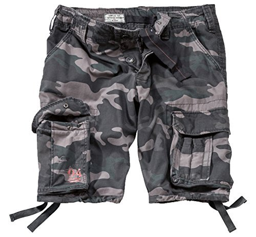 Surplus Men's Airborne Vintage Shorts Washed Black Camo Size XXL
