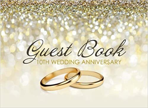 Buy Guest Book 10th Wedding Anniversary Beautiful Ivory Guest