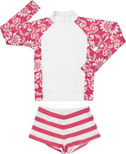 Snapper Rock Girl's RashGuard Set-12-Red by Snapper Rock
