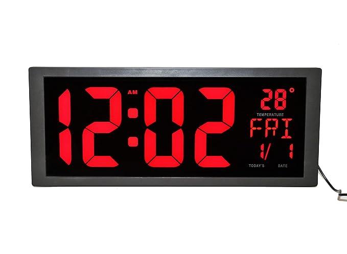 LambTown Led Reloj de pared Digital con Temperatura interior Calendario Semana y Fecha Ahorro de Tiempo para Oficina de sala de estar - Rojo: Amazon.es: ...