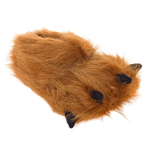 Silver Lilly Bear Paw Animal Slippers (Brown, (Fun Fuzzy Slippers)