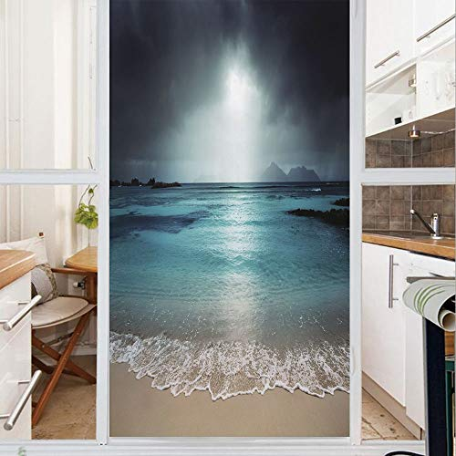 - Decorative Window Film,No Glue Frosted Privacy Film,Stained Glass Door Film,Storm Sky on The Beach of La Dugue Island Seychelles Dramatic Scene Decorative,for Home & Office,23.6In. by 78.7In Dark and