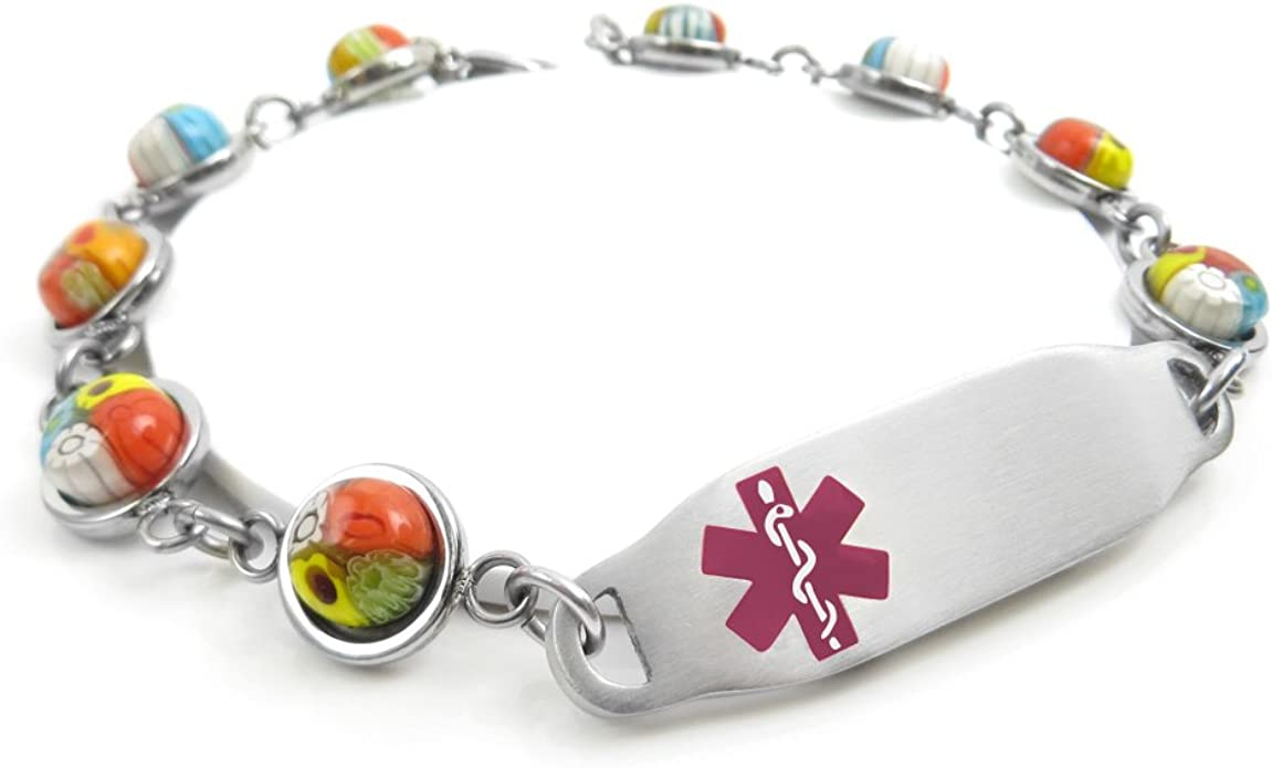 Red Millefiori Glass Black My Identity Doctor Pre-Engraved /& Customized COPD Lung Disease ID Bracelet