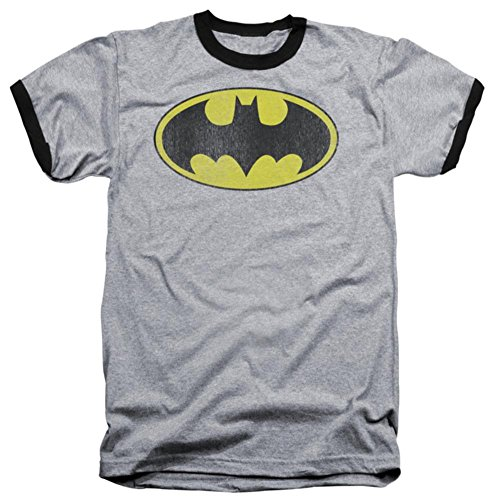 - Batman Classic Distressed Logo Adult Ringer T-Shirt, Large in Gray