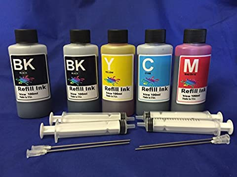 500 ml Bulk Ink refill set for Epson workforce WF 3620 3640 7610 7620 USE Cartirdges #252 FOR REFILLABLE CARTRIDGES OR CIS CISS INK SYSTEM + free 4 syringes/ (Printer Cartridges Wf 3640)
