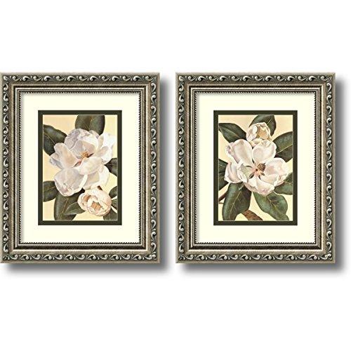 Framed Art Print, 'Magnolias - set of 2' by Waltraud Fuchs Von Schwarzbek: Outer Size 10 x 12