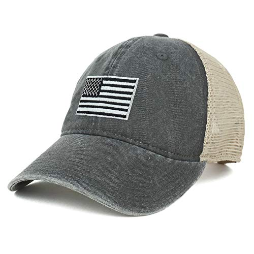 Armycrew Oversize XXL Grey American Flag Embroidered Washed Trucker Mesh Cap