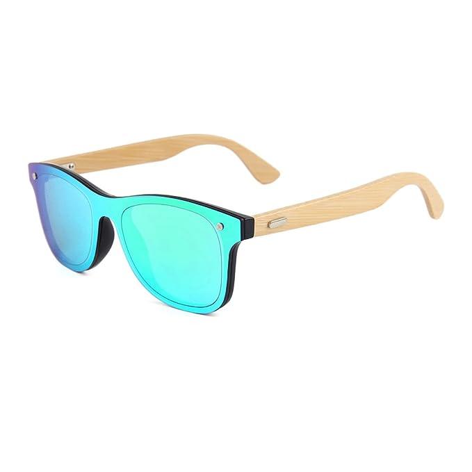 976b13ed4d Buho Eyewear - Gafas de Sol Modelo Niza - Unisex - Bamboo (Espejado Verde)