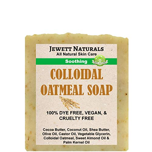 Jewett Naturals Colloidal Oatmeal Soap 4.2 Ounces, Handmade With Shea Butter, Cocoa Butter, Other Natural Ingredients. Combats Irritated Skin, Eczema, Psoriasis, Sensitive Skin. Vegan & Handmade.