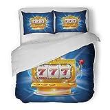 SanChic Duvet Cover Set Orange Casino Golden Slot Machine Wins the Jackpot Blue Lucky Decorative Bedding Set with 2 Pillow Shams Full/Queen Size