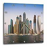 3dRose Danita Delimont - Cities - UAE, Moon hovering over the Dubai Marina high rise buildings. - 10x10 Wall Clock (dpp_277092_1)