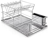 Home Intuition 2-Tier Steel Dish Drying Rack Set with Drainer Board and Utensil Cup, Chrome