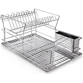 Home Intuition 2-Tier Steel Dish Rack Set with Cup Hooks, Drainer Tray, and Utensil Cup, Chrome