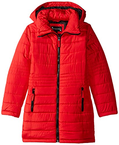 Rothschild Big Girls' Puffer Coat With Funnel Neck and Hood