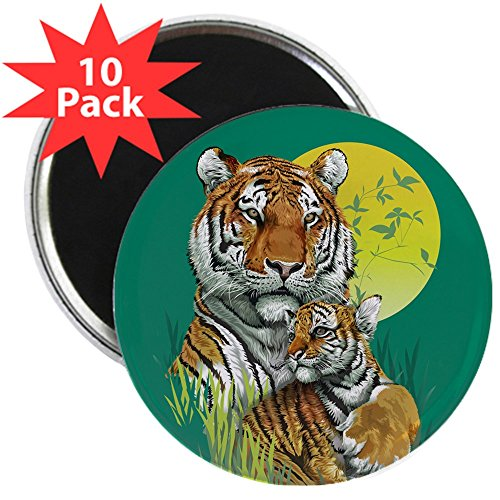2.25 Inch Magnet (10 Pack) Tiger Family Cub Stripes in Jungle