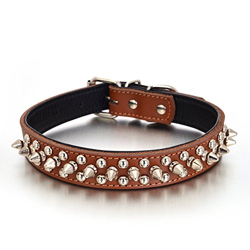 Rachel Pet Products Rivet Spiked Studded Genuine Leather Dog Collar for Small or Medium Pet, Brown, M