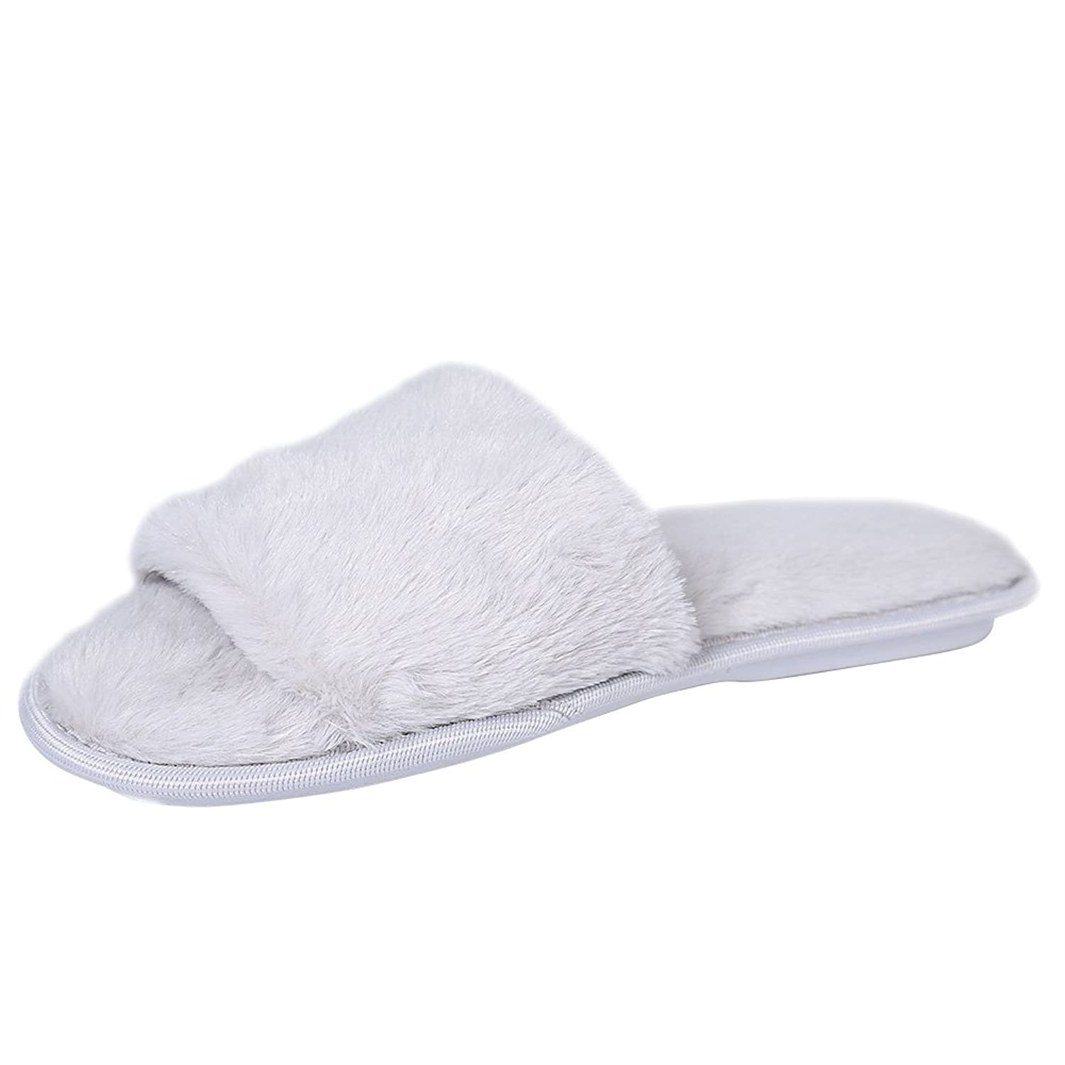 cd088b9849 Dolcevida Women's Soft Indoor Faux Fur Open Toe Slide Slippers
