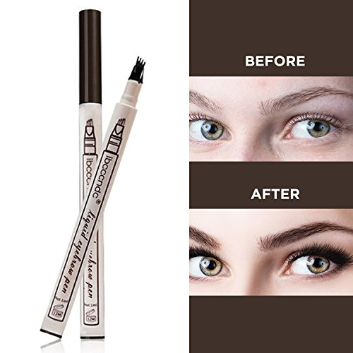 Tattoo Eyebrow Pen Waterproof Ink Gel Tint with Four Tips, Long Lasting Smudge-Proof Natural Hair-Like Defined Brows All Day (Chestnut) by AsaVea (Image #4)