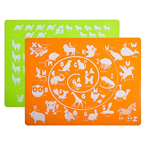 Dishwasher Safe Placemats - Placemat Kids, Silicone Placemats for Kids, Toddlers, Children, Baby - Alphabet&Number Animal Educational Placemats for Dining Table - Washable, Dishwasher Safe by Kindga(2 pcak)