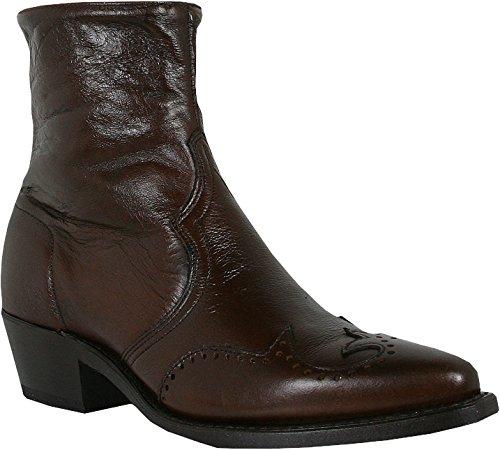 (Abilene Men's Western Wingtip Zipper Boot Chocolate 9 EE US)
