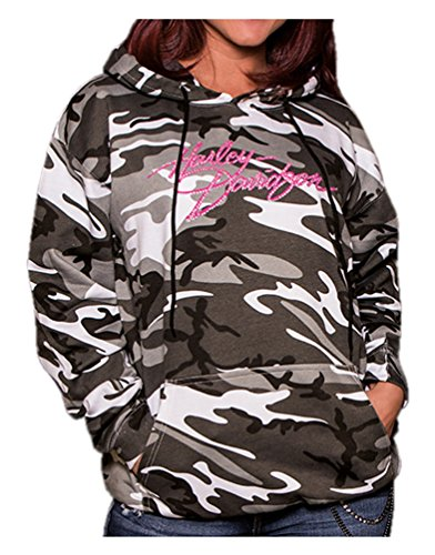 Harley-Davidson Women's Embellished Incognito Pullover Hoodie, Urban Camo (S) (Harley Davidson Camo)
