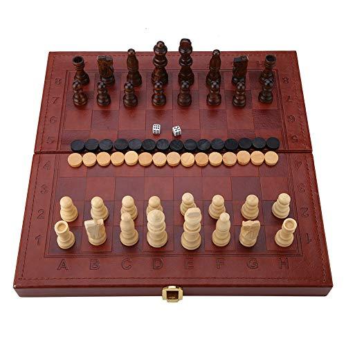 Duchas de Ajedrez 3-En-1 de Madera para Niños Juegos de Mesa de Backgammon Occidental Caja de Cuero de Imitación Con...