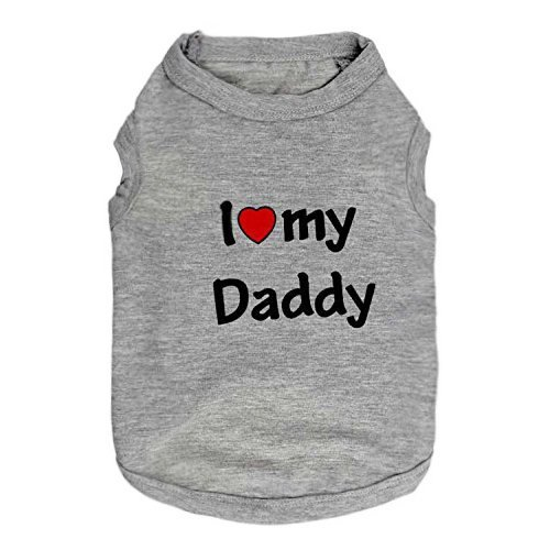 Pet Dog T-Shirt I Love My Daddy Mommy Vest Gift Costume Clothes for Small Puppy Cat Kitten Yorkshire Chihuahua Poodle Teacup Terrier Rabbit Baby Dogs