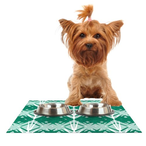 Kess InHouse Alison Coxon Diamond  Teal White Feeding Mat for Pet Bowl, 18 by 13
