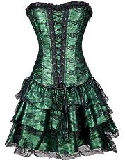 EUDOLAH Dames Gothic Corsage Jurk Mini Rok Petticoat Bustier Top met Tutu Rok