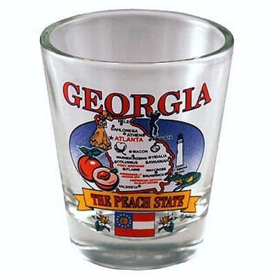 Georgia State Elements Map Shot Glass (Glass Georgia Shot)