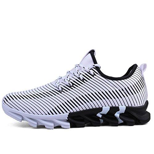 Scarpe da uomo sneaker maschio Flyknit Scarpe da corsa autunno slittata luce traspirante tempo libero Scarpe sportive , Bianca , 43