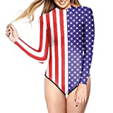 RedExtend Long-sleeve Surfing Suit Sun Protection Monokini Swimwear Bathing Suit, Usa Flag, One Size