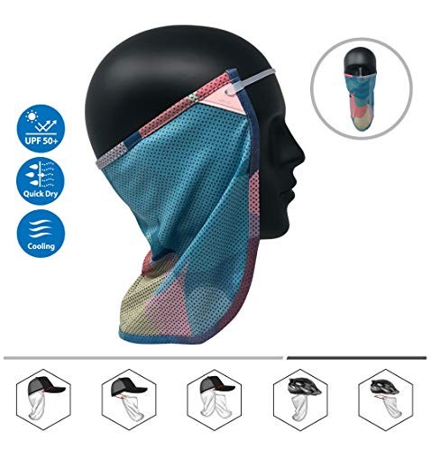 CoolNES Neck or Face Sun Mask | 1 Product 2 Uses 1 Removable Universal Fit Headband with 1 Flap | Multifunctional Headwear 4 Season Performance | Cap | Hat | Bike Ski Helmet UPF 50 (CoolNES-Cream)