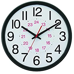 Tempus® Wide Profile Wall Clock with 24 Hour Dial and Daylight Saving Time Auto-Adjust Movement, 13.75, Black