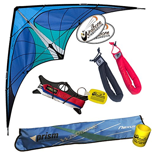 Prism Nexus Dual Line Framed Delta Stunt Kite with Straps Bundle (3 Items) + Peter Lynn Heavy Duty Padded Kite Strap Handles Pair + WindBone Kiteboarding Lifestyle Stickers + Key Fob (Blue)