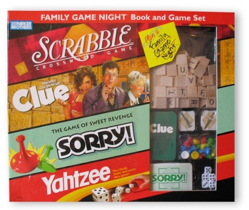 Family Game Night Book and Game Set, Four Great Games In One CLUE SORRY SCRABBLE YAHTZEE