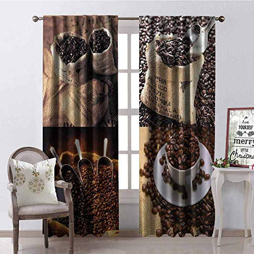 GloriaJohnson Coffee Blackout Curtain Rustic Collage of Images Showing Different Kinds of Roasted Grains 2 Panel Sets W100 x L84 Inch Brown Dark and Sand Brown