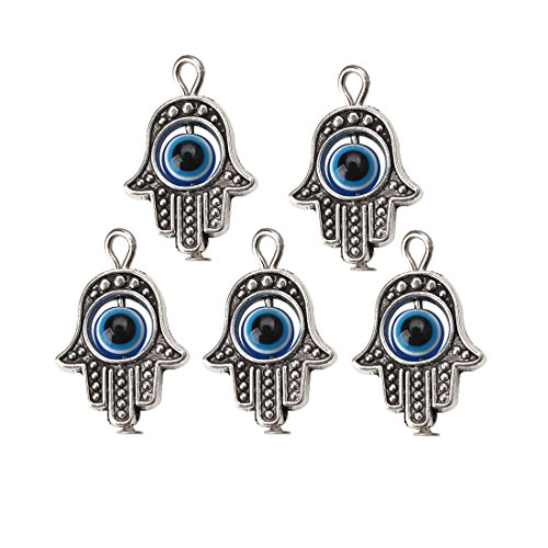 Evil Eye Beads (MEIBEADS 20pcs/bag 1319mm Hamsa Evil Eye Bead for Snake Chain Charm for Bracelet jewelay making(blue and silver))