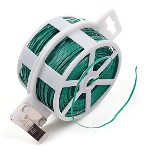 KLOUD City 328 Feet (100m) Green Multi-Function Sturdy Garden Plant Twist Tie with Cutter/ Cable Tie/Zip Tie/ Coated Wire (1) (1 roll green) (Plastic Twist Ties)