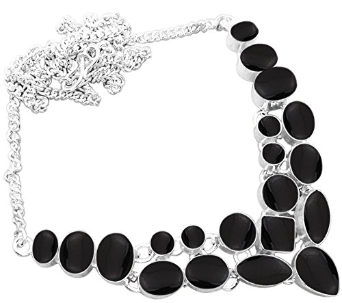 Genuine Black Onyx Necklace - 925 Silver Plated 45.30ctw Genuine Black Onyx Necklace