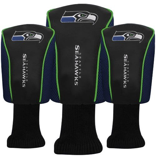 Seattle Seahawks Mesh Barrel Golf Head Cover 3 Pack McArthur - (Oversized 3 Pack Golf Headcovers)