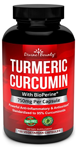Extrait de curcumine du curcuma poivre noir BioPerine - 750mg par Capsule, 120 Capsules de légumes - curcuma libre OGM, standardisé à 95 % curcuminoïdes pour une puissance maximale
