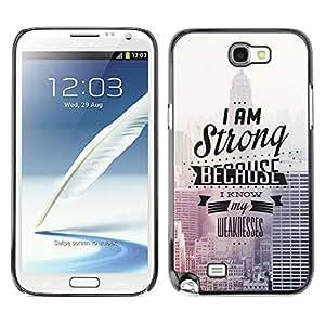 EJOY---Cubierta de la caja de protección la piel dura para el / Samsung Note 2 N7100 / --Soy fuerte