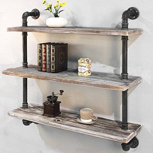 "Industrial Pipe Shelf Bookcase Shelf Shelves Retro Floating Wood Shelving (36"")"