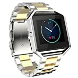 Fitbit Blaze Bands, MoreToys Stainless Steel Replacement Accessories Wristband Watch strap for Fitbit Blaze Smart Fitness Watch (Silver/Gold)